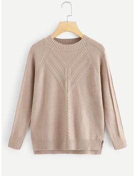 Raglan Sleeve Cable Knit Sweater by Sheinside