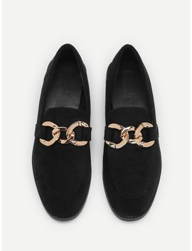 Chain Decorated Suede Flats by Sheinside