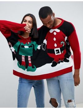 Boohoo Santa And Elf Two Person Holidays Sweater In Multi by Boohoo