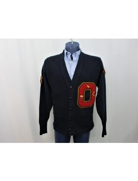 Vintage 1970s Letterman Sweater O Letter Navy Cardigan Patches Pins Football Baseball 1976 by Etsy