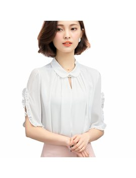 Women Chiffon Blouse Shirt Peter Pan Collar White Shirts Casual Ruffle Blouse Blusas Femininas We183 by Ali Express