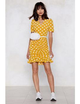 Ruche To The Finish Line Polka Dot Dress by Nasty Gal