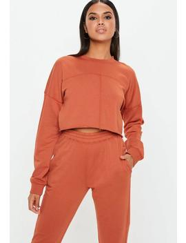 Rust Raw Hem Cropped Sweatshirt by Missguided
