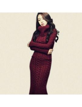 Korean Women Weave Warm Knit Dress Lady Casual Long Sweater Turtleneck S/M/L/Xl by Unbranded