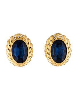 Oval Crystal Clip On Earrings by Christian Dior