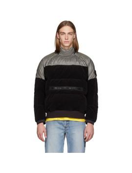 Grey & Black Down Popover Anorak Jacket by Stone Island