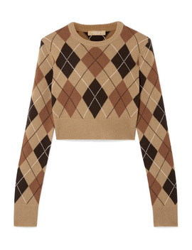 Cropped Argyle Cashmere Sweater by Michael Kors Collection