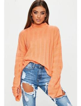 Peach High Neck Ribbed Knitted Sweater by Missguided