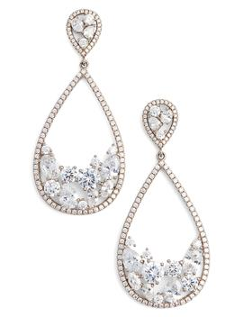 Stone Cluster Open Teardrop Earrings by Nina