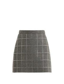 Crystal Embellished Wool Blend Skirt by Miu Miu