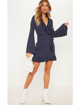 Navy Stripe Print Frill Detail Flare Sleeve Wrap Dress by Prettylittlething