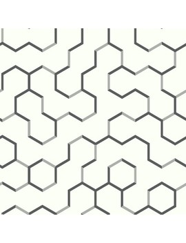 Open Geometric Peel & Stick Wallpaper Black   Room Mates by Room Mates