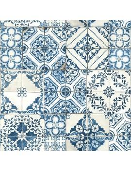 Mediterranian Tile Peel & Stick Wallpaper Blue   Room Mates by Room Mates