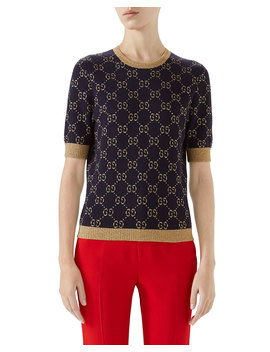 Crewneck Short Sleeve Metallic Gg Jacquard Sweater by Gucci