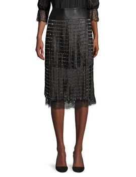 senna-leather-fringe-pencil-skirt by alice-+-olivia