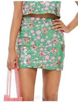 Flower Sequin Mini Skirt by Topshop