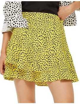 Animal Print Ruffle Mini Skirt by Topshop