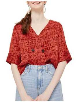 Spot Animal Tie Back Blouse by Topshop