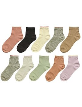 Bear Mum Women's 10 Pairs Colorful Patterned Ankle Socks by Bear Mum