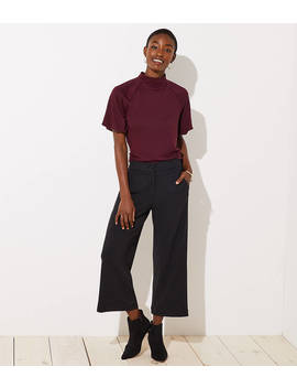 Petite Ribbed Wide Leg Crop Pants by Loft