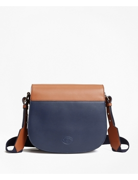 Color Block Leather Saddle Bag by Brooks Brothers