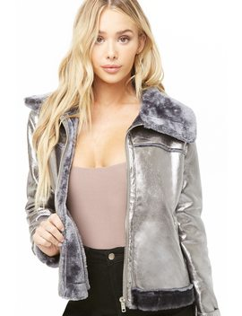 Faux Fur Lined Metallic Jacket by Forever 21