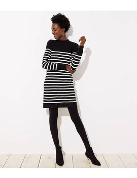 Petite Striped Back Button Sweater Dress by Loft