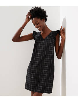 Petite Windowpane Flutter Shift Dress by Loft
