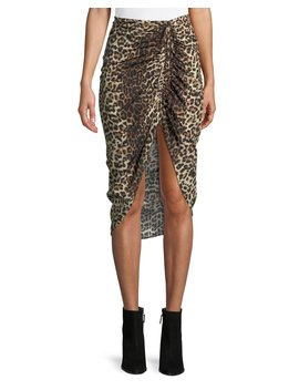 Ari Ruched Leopard Print High Low Skirt by Veronica Beard
