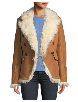 Huntley Double Breasted Shearling Blazer by Veronica Beard
