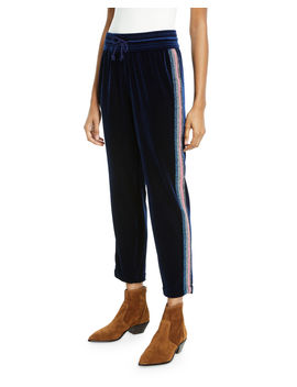 The Lounger Ankle Velvet Jogger With Glitter Racer Stripes by Mother