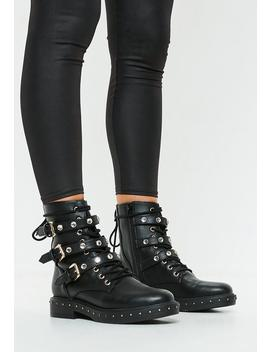 Black Triple Strap Mid Embellish Hiker Boots by Missguided
