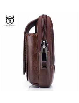 Bull Captain  Genuine Leather  Famous Brand Men Cell Mobile Phone Case Cover Purse Cigarette Money Hip Belt Waist Bag Wallet Gif by Bullcaptain