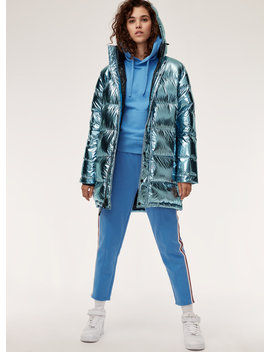 The Super Puff Mid   Mid Length, Metallic, Goose Down Puffer Jacket by Tna