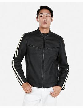 (Minus The) Leather Stripe Sleeve Biker Jacket by Express
