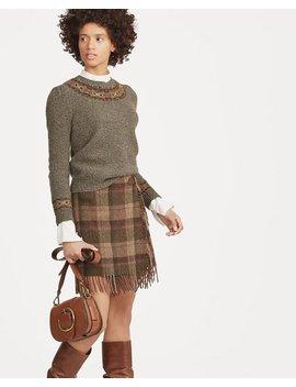 Fringe Trim Plaid Wool Skirt by Ralph Lauren