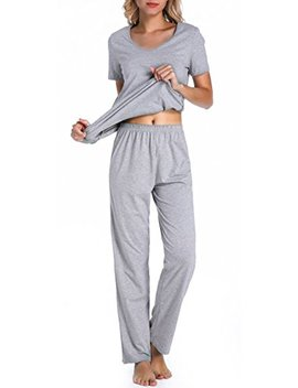 Chamllymers Womens Cotton Pajama Sets Short Sleeve Sleepwear by Chamllymers