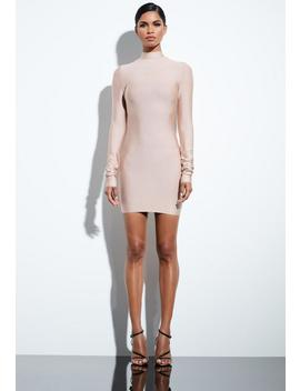 Peace + Love Camel Bandage Ruched Sleeve Dress by Missguided