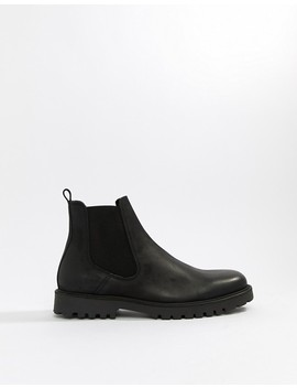 Zign Chunky Chelsea Boots In Black Leather by Zign