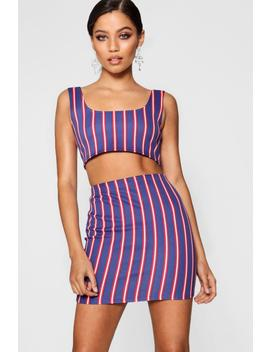 Daisy Stripe Crop And Mini Skirt Co Ord by Boohoo