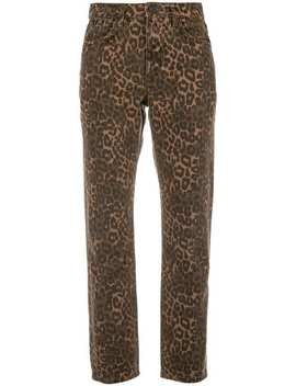 Alexander Wang X Denim Leopard Print Cropped Jeans by Alexander Wang