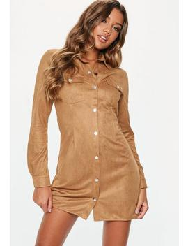 Tan Faux Suede Popper Front Skater Dress by Missguided