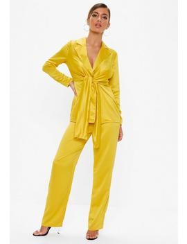 Mustard Satin Wide Leg Pants by Missguided