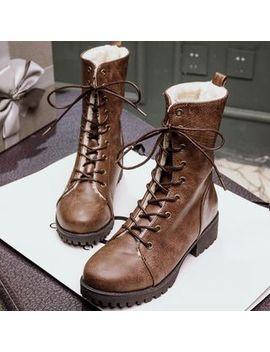 Kireina   Faux Leather Fleece Lined Block Heel Short Boots by Kireina
