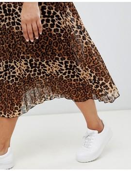 Glamorous Curve Midi Skirt In Pleated Leopard Print by Glamorous