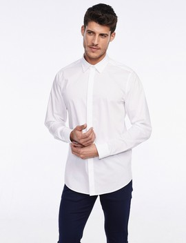 Super Slim Fit Dots Collar Button Down Shirt by Castro
