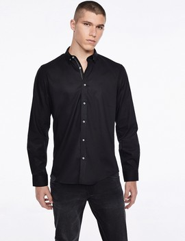 Black Textured Button Shirt by Castro