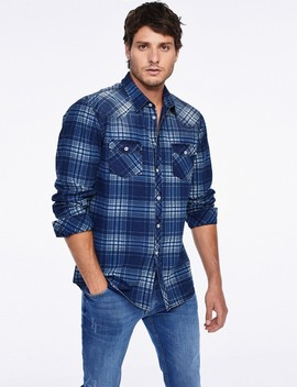 Indigo Check Print Button Down Shirt by Castro