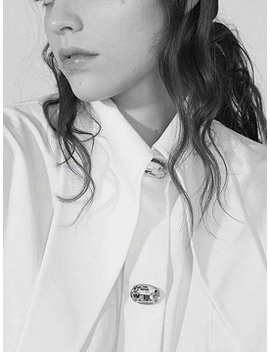 White Cotton Diamond Detail Puff Sleeve Vintage Women Shirt by Choies