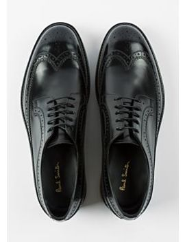 Men's Black Leather 'grand' Brogues With Striped Soles by Paul Smith